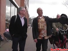 Youthful dutch whore gives an old messy tourist whos teeth fall out a taste of his own cum