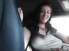 Huge-chested displays her tits while she is driving