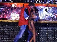 Retro ebony chick in shiny boots gets drilled in a bar