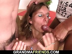 Hairy aged mature nymph swallows 2 weenies at once