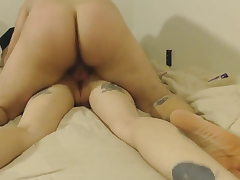 Home Bang-out Tat Couples! Fucked the blonde in Anal!