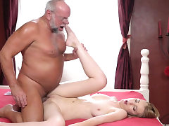 Teen bends over for oldie