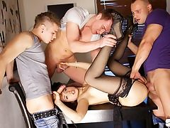 Gangbang pornography act for slim Taissia-Shanti