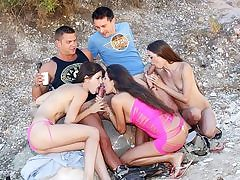 Naughty femmes plow on the beach