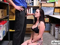 Naughty thief with big boobs banged by a perverted cop