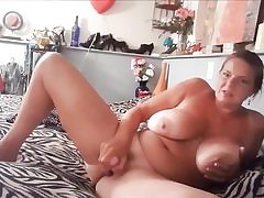 Super-naughty mature whore with giant boobs tugging her pussy fuckhole