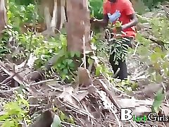 Black doll having casual lovemaking in the nature